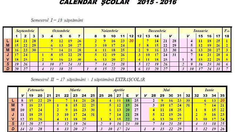 Calendar şcolar 2015-2016